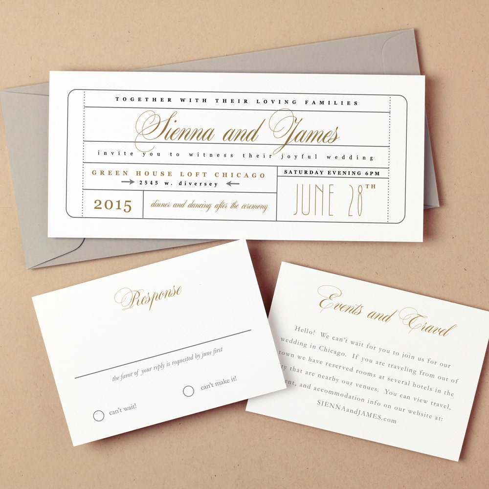 printable wedding invitation template instant download ticket