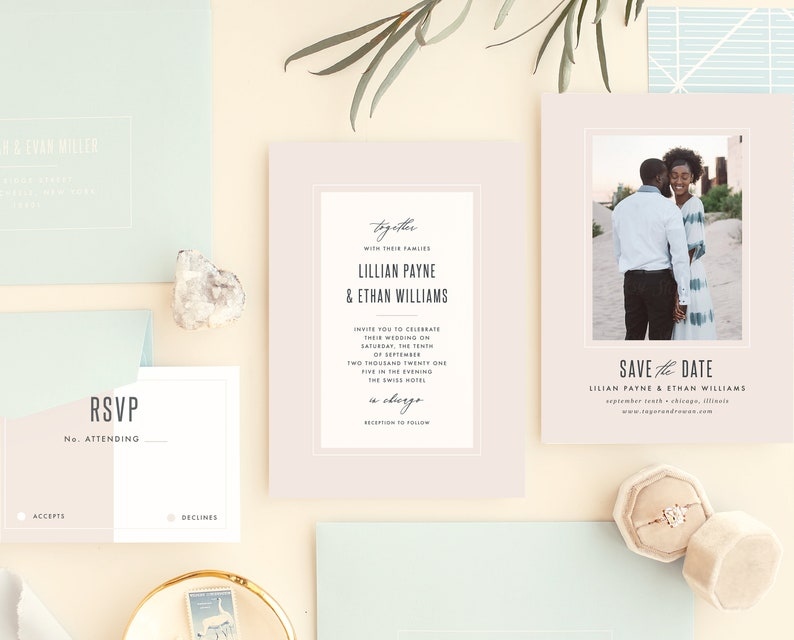 Modern Frame Wedding Invitation Template  15 Piece Suite image 0