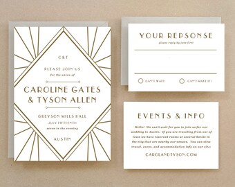 Printable Wedding Invitation Template | INSTANT DOWNLOAD | Gatsby | Word or Pages | Easy DIY | Editable Artwork Colors