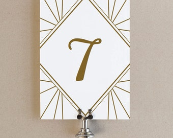 Printable Table Numbers | INSTANT DOWNLOAD | Gatsby | Flat 5x7 | Editable Colors | Mac or PC | Word & Pages