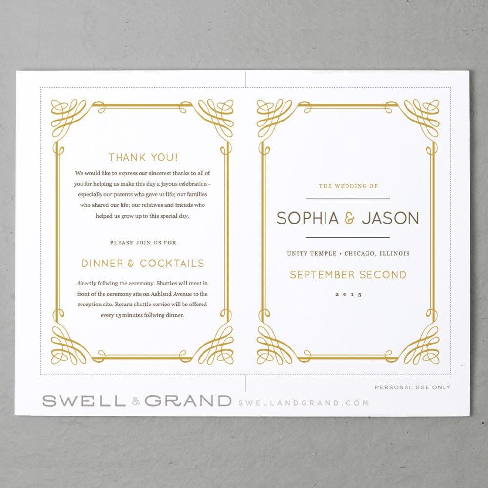 printable wedding program template instant download classic