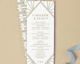 Printable Wedding Program Template   INSTANT DOWNLOAD   Gatsby   Flat Tea Length   Instant Download   Mac or PC   Word & Pages