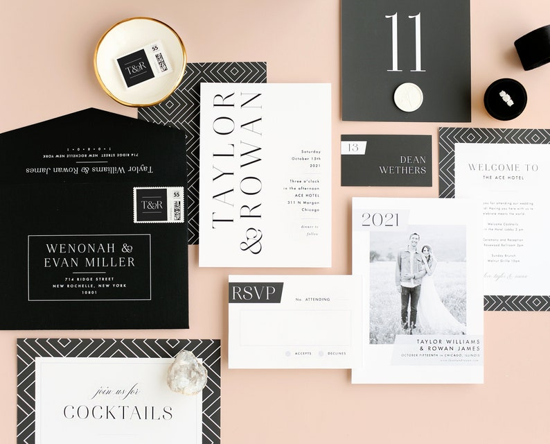 Modern Typography Wedding Invitation Template  15 Piece Suite image 0