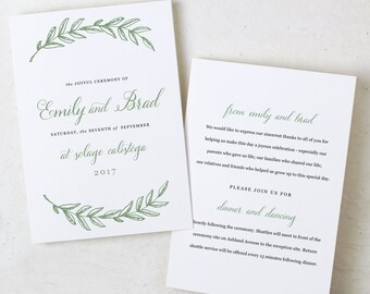 Instant DOWNLOAD wedding programs   Woodland   Folded 5x7   Mac or PC Pages or Word   DIY   100% Editable Artwork and Text