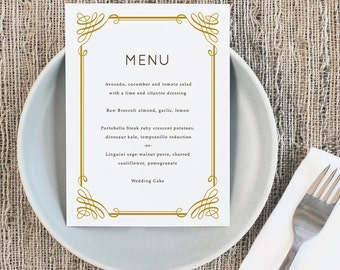 Printable Wedding Menu Template   INSTANT DOWNLOAD   Classic   5x7   Editable Colors   Mac or PC   Word & Pages