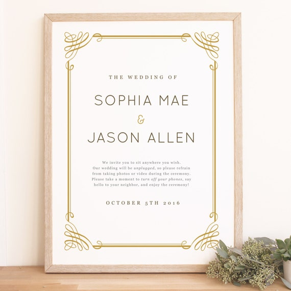 instant download wedding welcome sign template classic frame etsy