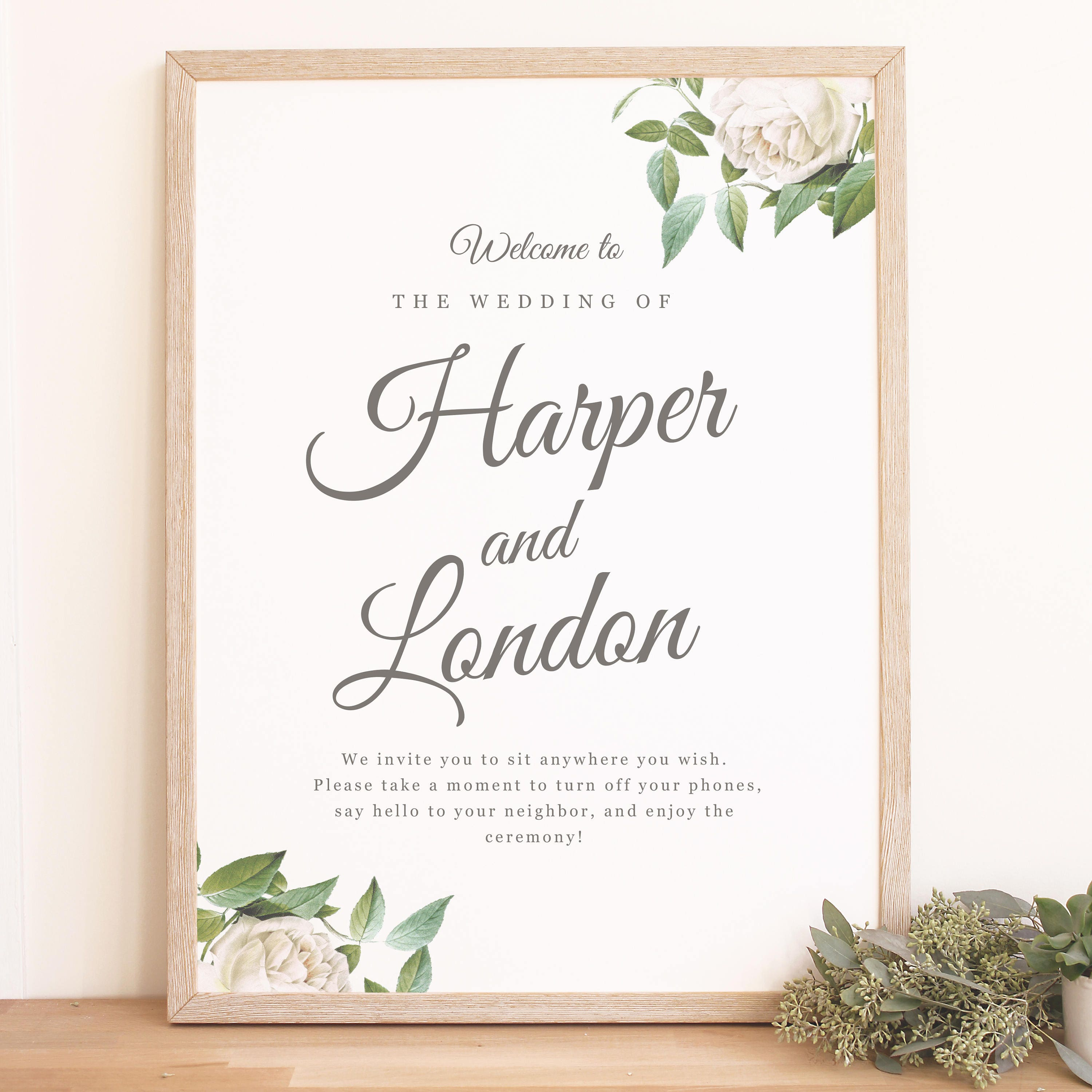 instant download wedding welcome sign template ivory botanical
