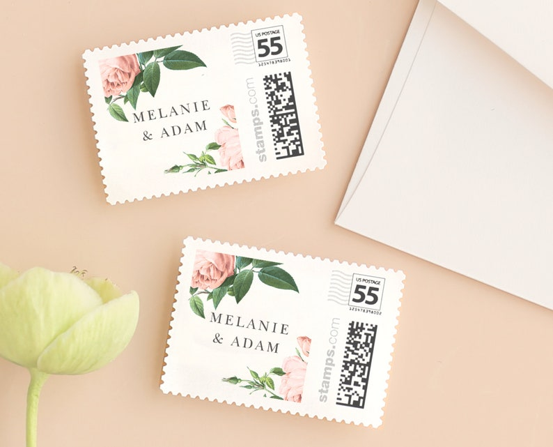 Vintage Botanical Wedding Postage Stamp Template for image 0