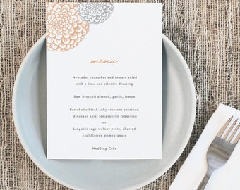 Printable Wedding Menu Template   INSTANT DOWNLOAD   Blooms   5x7   Editable Colors   Mac or PC   Word & Pages