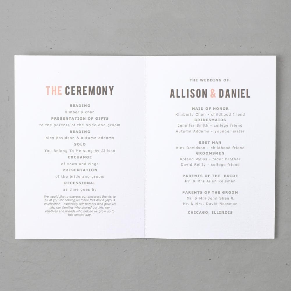 printable wedding program template instant download heart