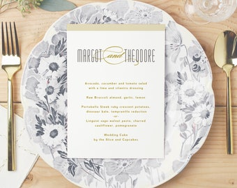 Printable Wedding Menu, Wedding Menu Template, Matchbook Deco, Mac or PC, 100% Editable, Cheap Wedding Menu, INSTANT DOWNLOAD