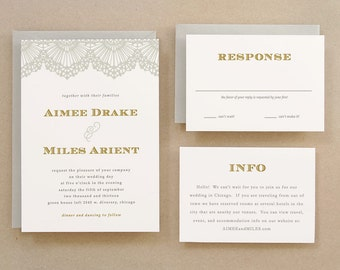 Printable Wedding Invitation Template | INSTANT DOWNLOAD | Lace | Word or Pages | Easy DIY | Editable Artwork Colors