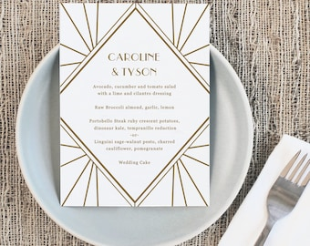 Printable Wedding Menu Template   INSTANT DOWNLOAD   Gatsby   5x7   Editable Colors   Mac or PC   Word & Pages