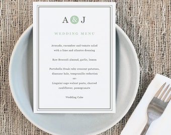 Printable Wedding Menu Template   INSTANT DOWNLOAD   Mint Type   5x7   Editable Colors   Mac or PC   Word & Pages