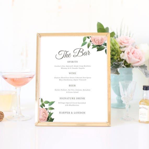 Hochzeit-Bar-Menü Cocktail-Menüvorlage druckbare Bar-Menü