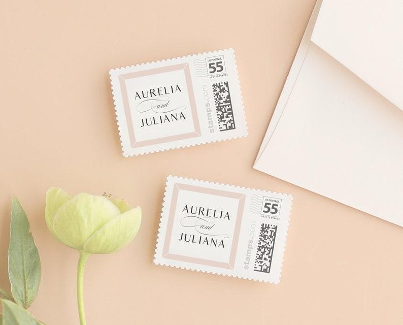Wedding Postage Stamp Template for PhotoStamps.com Modern image 0