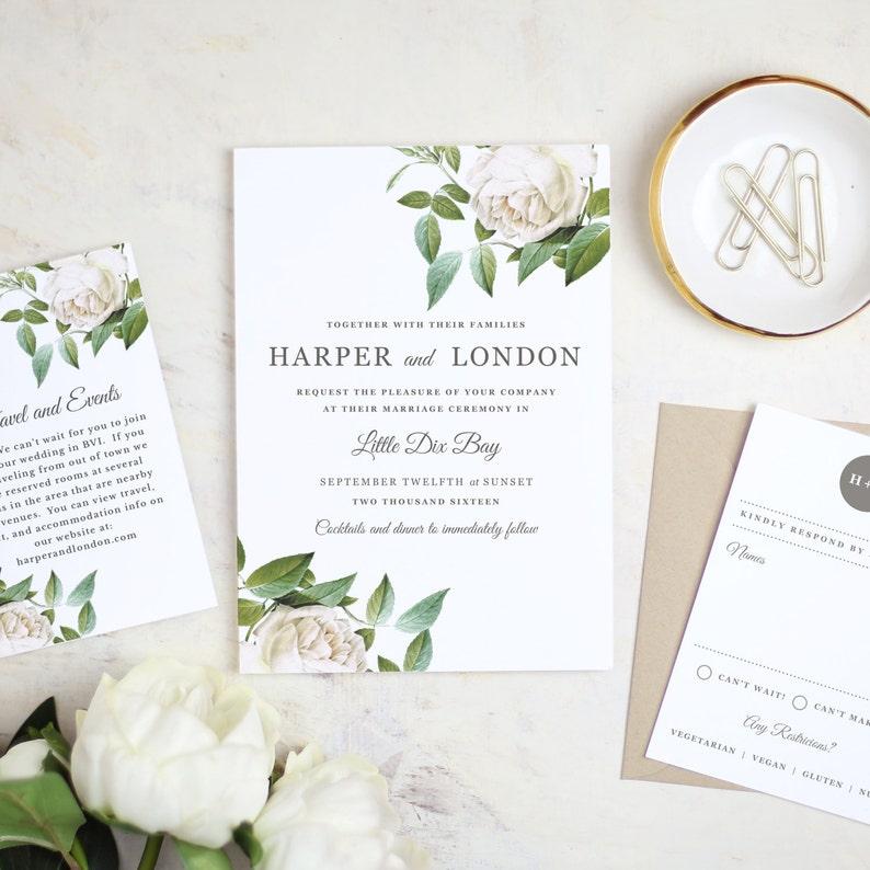 Instant Printable Wedding Invitation Template Ivory Etsy