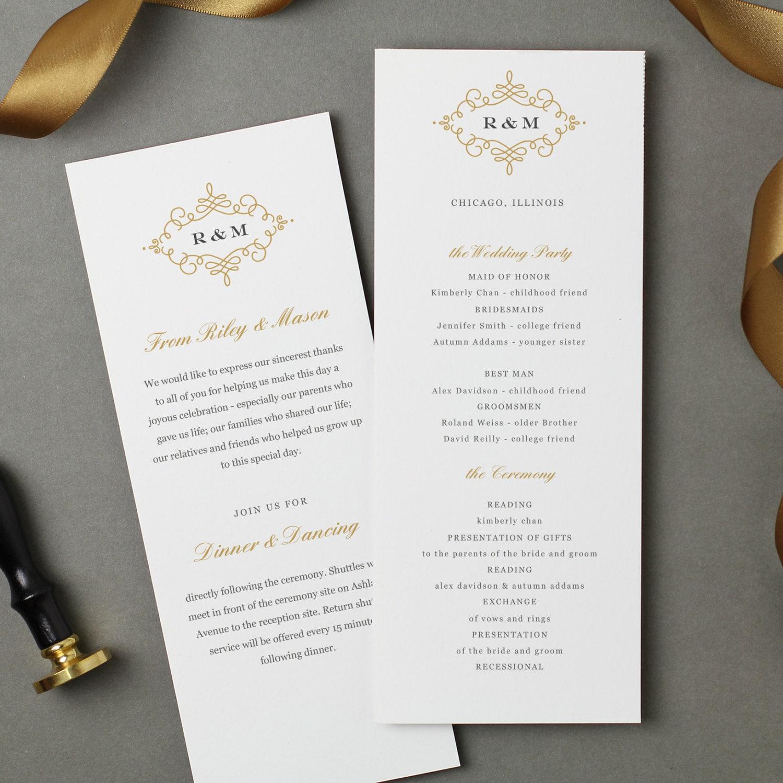Flat Wedding Program Template | INSTANT DOWNLOAD | Ornate | Flat Tea ...