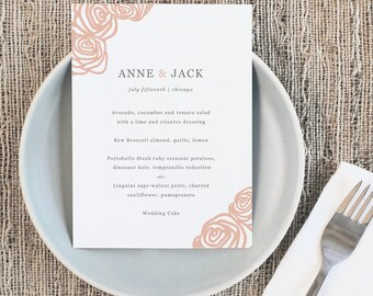 Printable Wedding Menu Template   INSTANT DOWNLOAD   Roses   5x7   Editable Colors   Mac or PC   Word & Pages