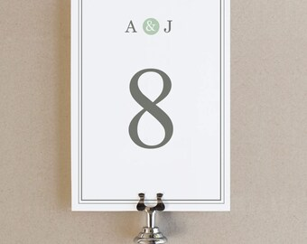 Printable Table Numbers Template | INSTANT DOWNLOAD | Mint Type | Word or Pages Mac & PC | 5x7 | Any Colors