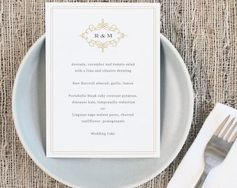Printable Wedding Menu Template   INSTANT DOWNLOAD   Ornate   5x7   Editable Colors   Mac or PC   Word & Pages