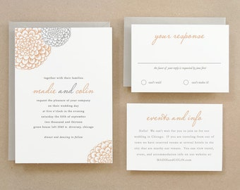 Printable Wedding Invitation Template | INSTANT DOWNLOAD | Blooms | Word or Pages | Easy DIY | Editable Artwork Colors