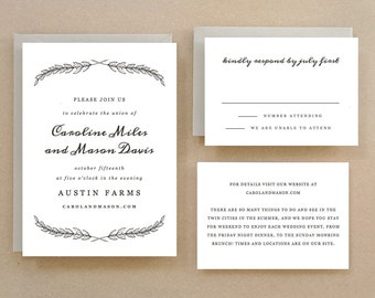 Printable Wedding Invitation Template | INSTANT DOWNLOAD | Quill | Word or Pages | Easy DIY | Editable Artwork Colors