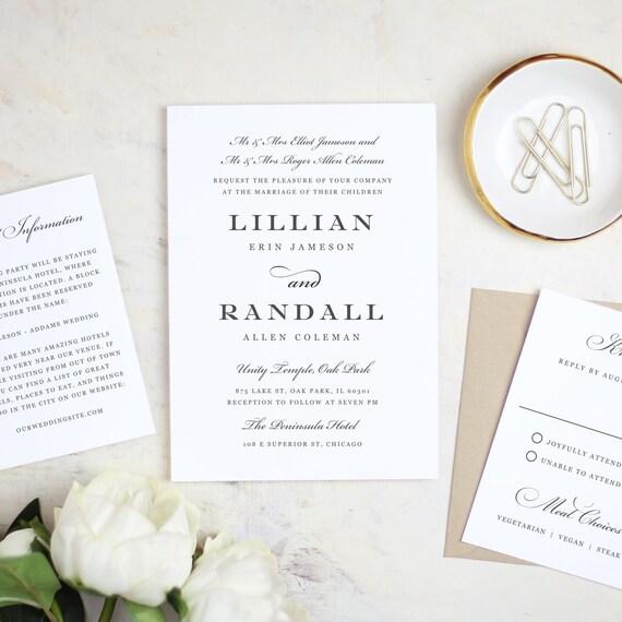 Printable Wedding Invitation Template Formal Script Etsy