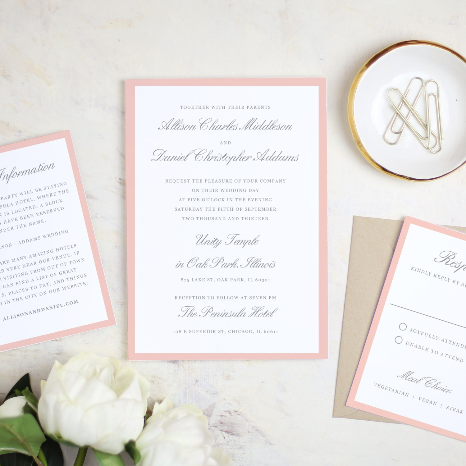 printable wedding invitation template grey and pink script word
