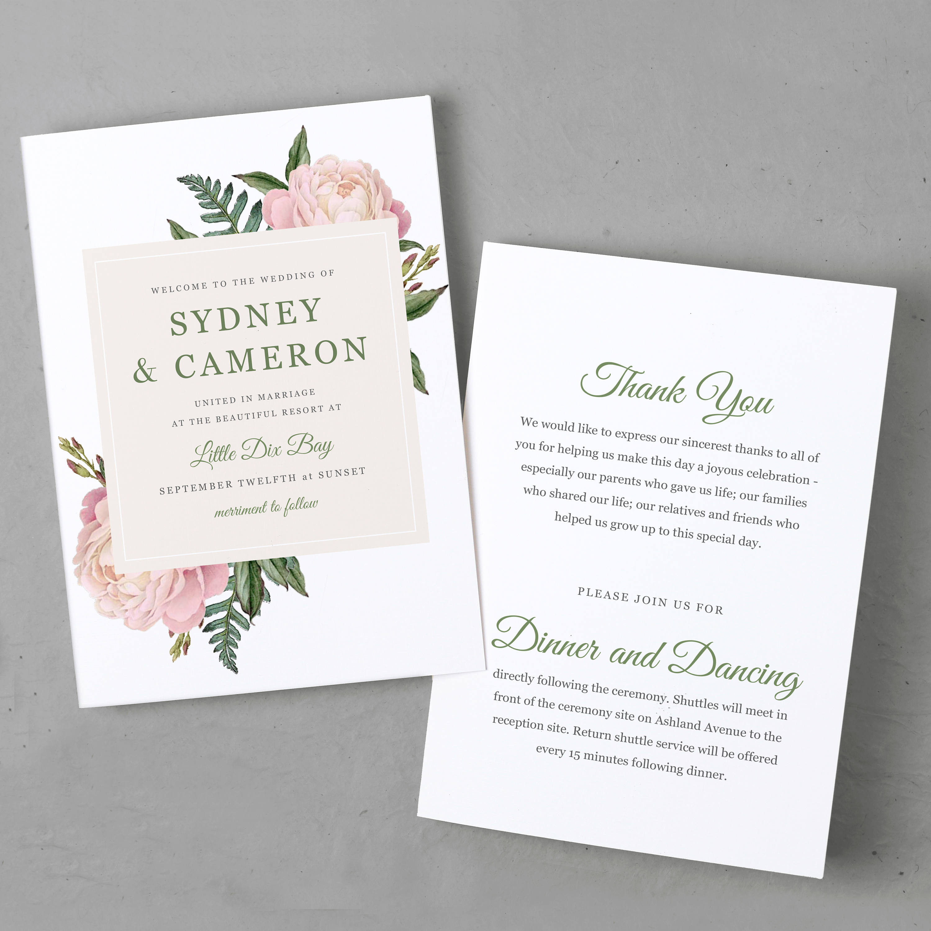 Folded Wedding Program Template Order Of Service Printable - 5x7 wedding program template