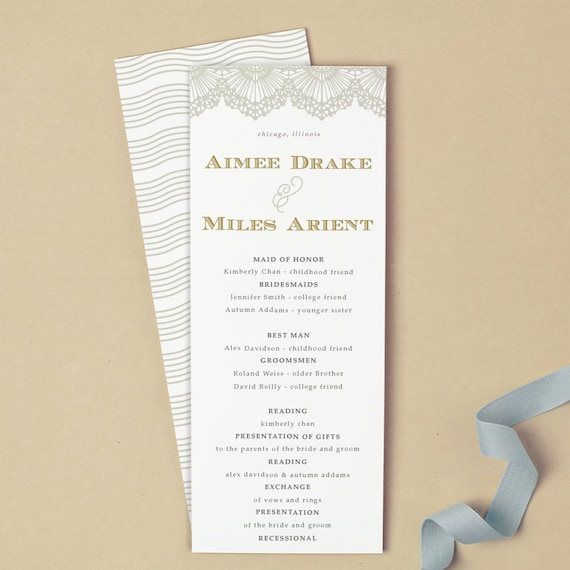 printable wedding program template instant download lace etsy