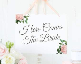 Here Comes the Bride Sign, Flower Girl Sign, Template, Printable, Vintage Botanical | SUITE028