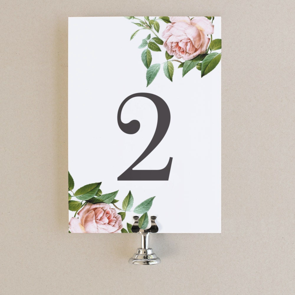 table numbers template diy printable instant download vintage