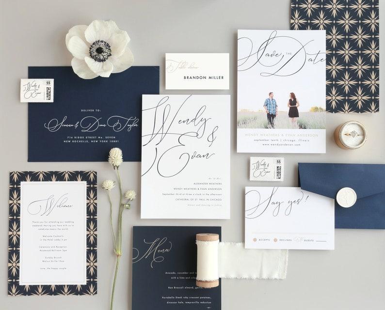 Script Names Wedding Invitation Template  15 Piece Suite image 0