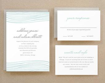 Printable Wedding Invitation Template | INSTANT DOWNLOAD | Ocean | Word or Pages | Easy DIY | Editable Artwork Colors
