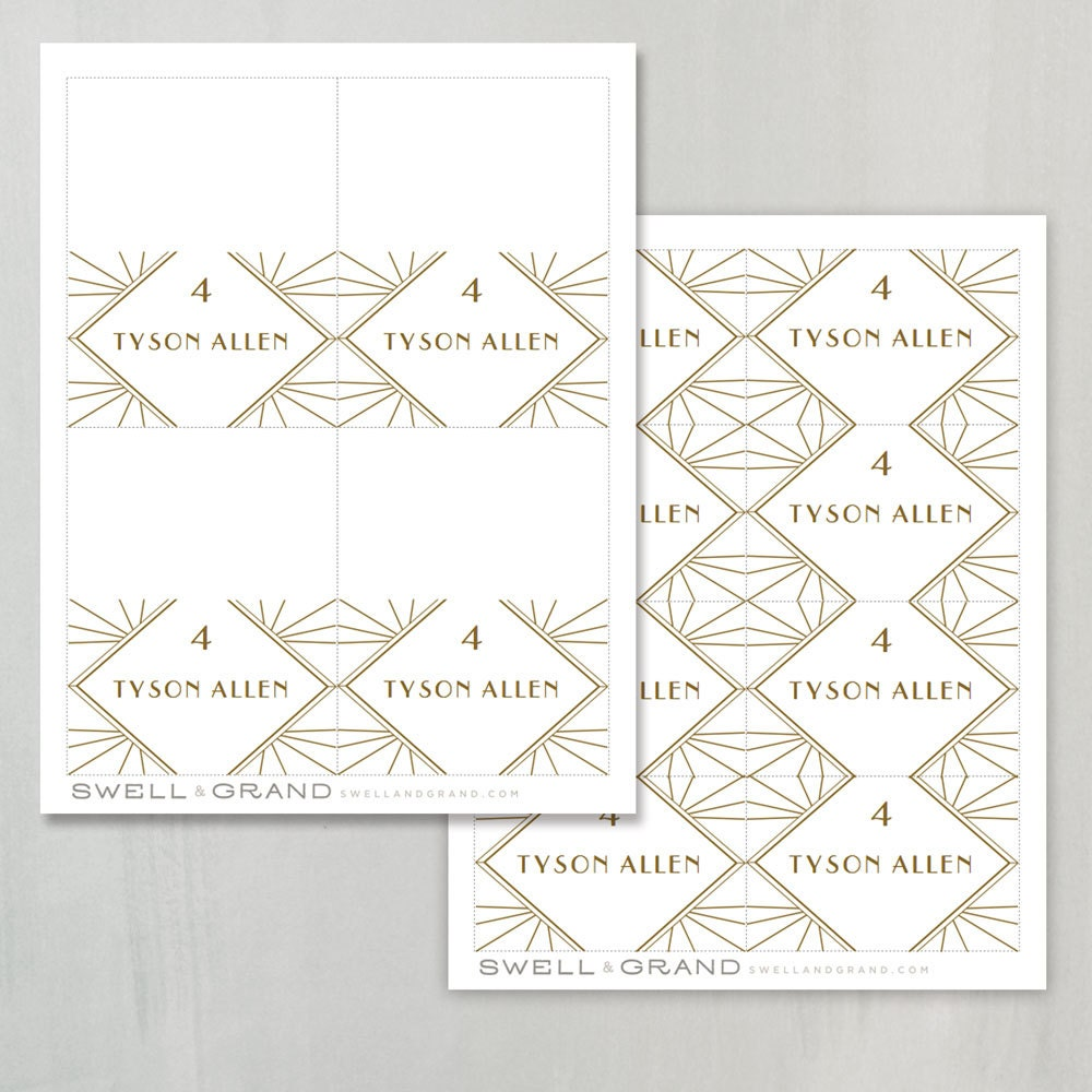 Printable Place Card Template Instant Download Gatsby Escort