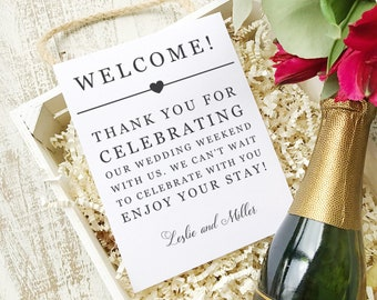 Wedding Welcome Note, Printable Wedding Welcome Bag Letter, Thank You, Itinerary, Agenda, Hotel Card - INSTANT DOWNLOAD
