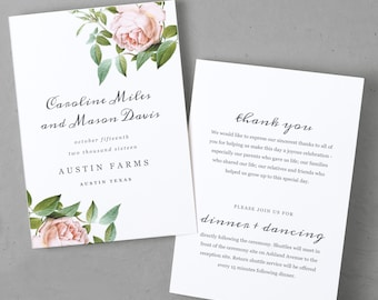 Printable Wedding Program Template   INSTANT DOWNLOAD   Vintage Botanical   Folded 5x7   Instant Download   Word or Pages   Mac or PC