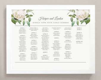 Printable Seating Chart Poster Template | Ivory Botanical | Word or Pages | 18x24 | INSTANT DOWNLOAD