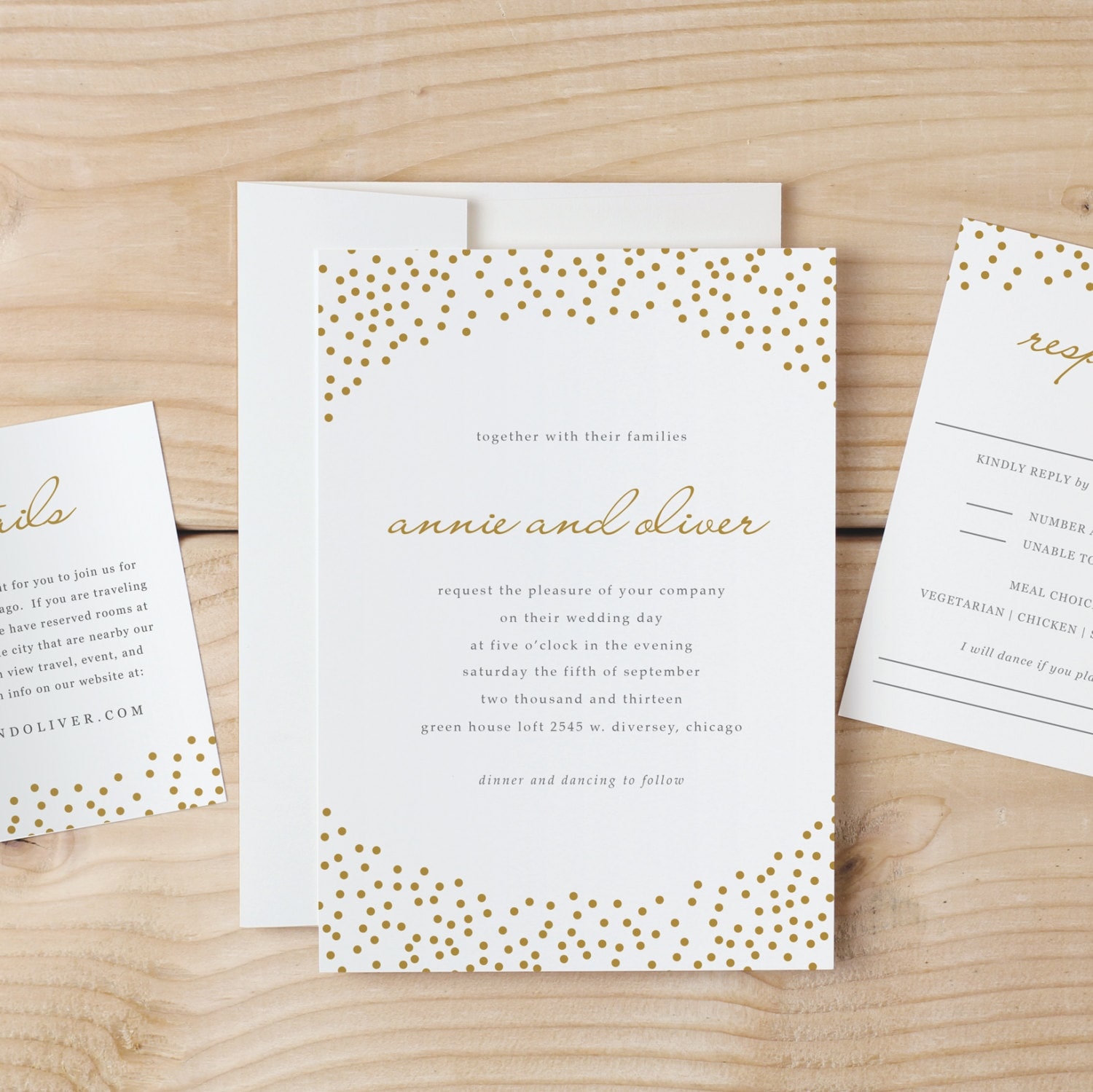 Wedding Invitation Template Download Gold Dots Word Or