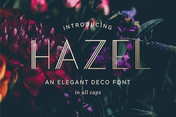 Hazel Art Deco Schrift, moderne Deco Schrift, OTF & TTF Dateien, Instant  Download