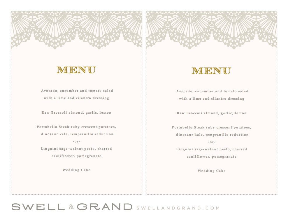 printable wedding menu template instant download lace 5x7