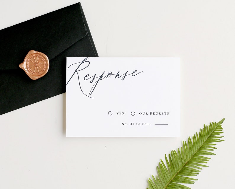 Calligraphy RSVP Template  Print Instantly image 0