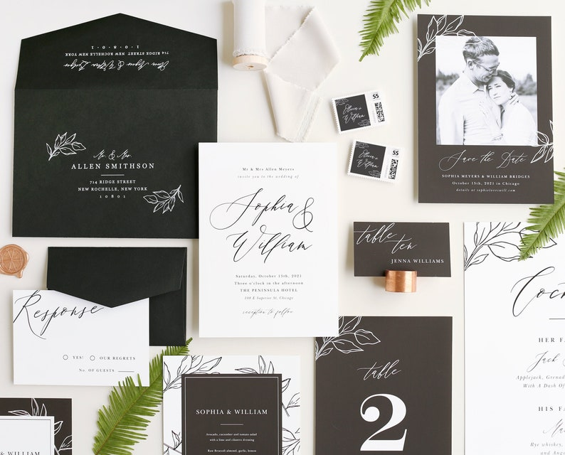 Modern Calligraphy Wedding Invitation Template  15 Piece image 0