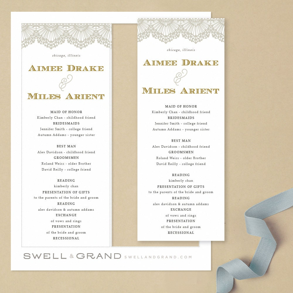 Printable Wedding Program Template INSTANT DOWNLOAD Lace Flat - Pages wedding program template