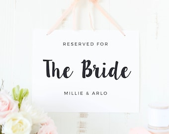 Bride and Groom Sign, Reserved Signs, Bride Sign, Groom Sign, Reserved for Bride, Reserved, Painted Script, SUITE031