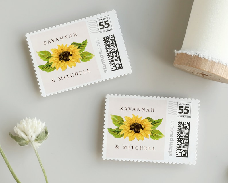 Sunflower Postage Stamp Template  for PhotoStamps.com image 0