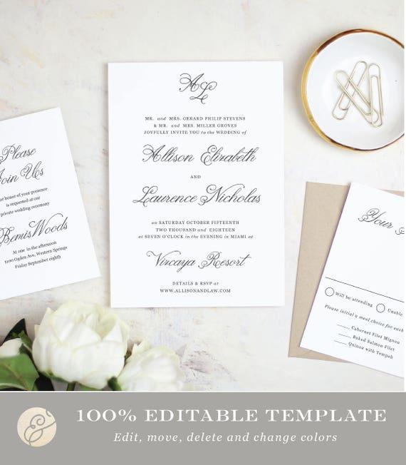 Printable Wedding Invitation Template Simple Script Word Etsy