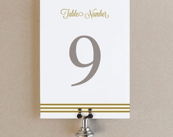 Instant Download - Gold Script - DIY Printable Table Numbers