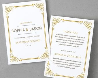 Printable Wedding Program Template   Instant DOWNLOAD   Classic   Folded 5x7   Editable Text   Word or Pages    Easy DIY   Editable Colors